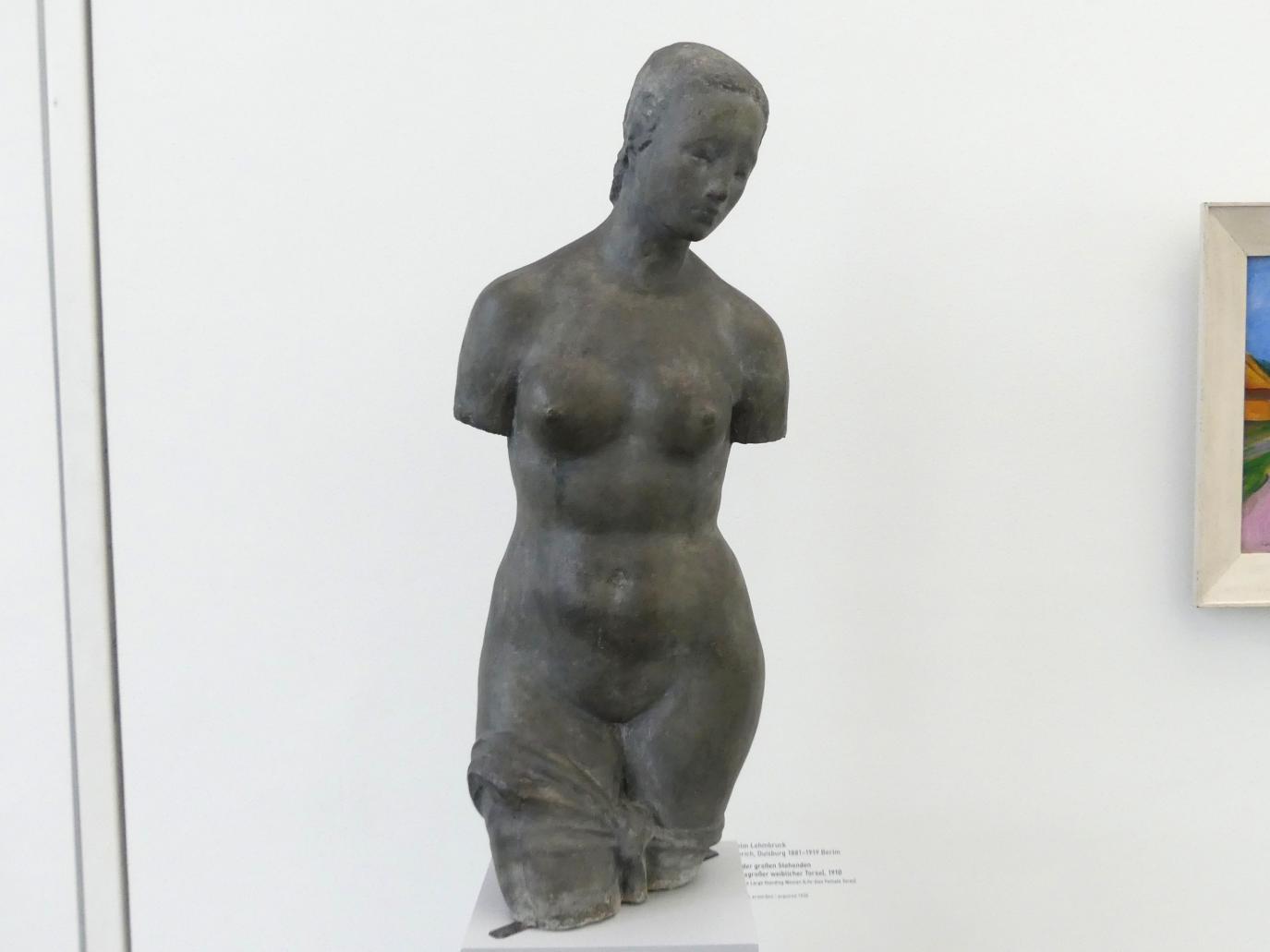 Wilhelm Lehmbruck: Torso der großen Stehenden (Lebensgroßer weiblicher Torso), 1910