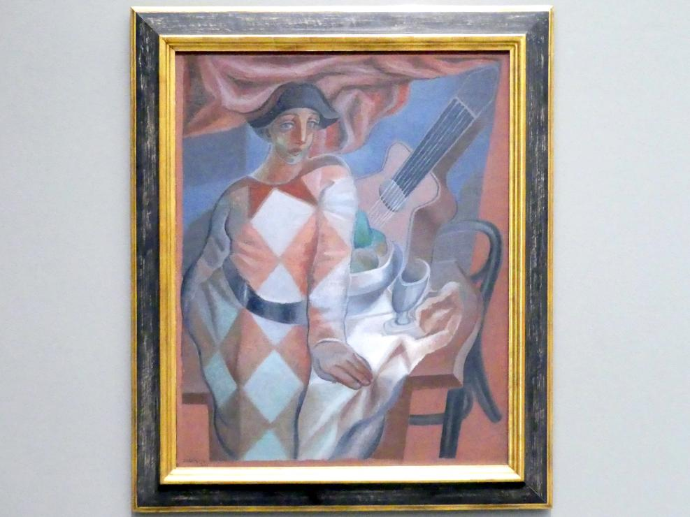 Juan Gris: Arlequin devant une table - Harlekin vor einem Tisch, 1924