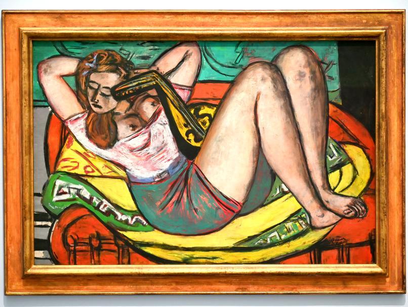 Max Beckmann: Frau mit Mandoline in Gelb und Rot, 1950