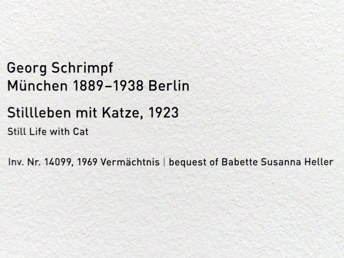 Georg Schrimpf: Stillleben mit Katze, 1923