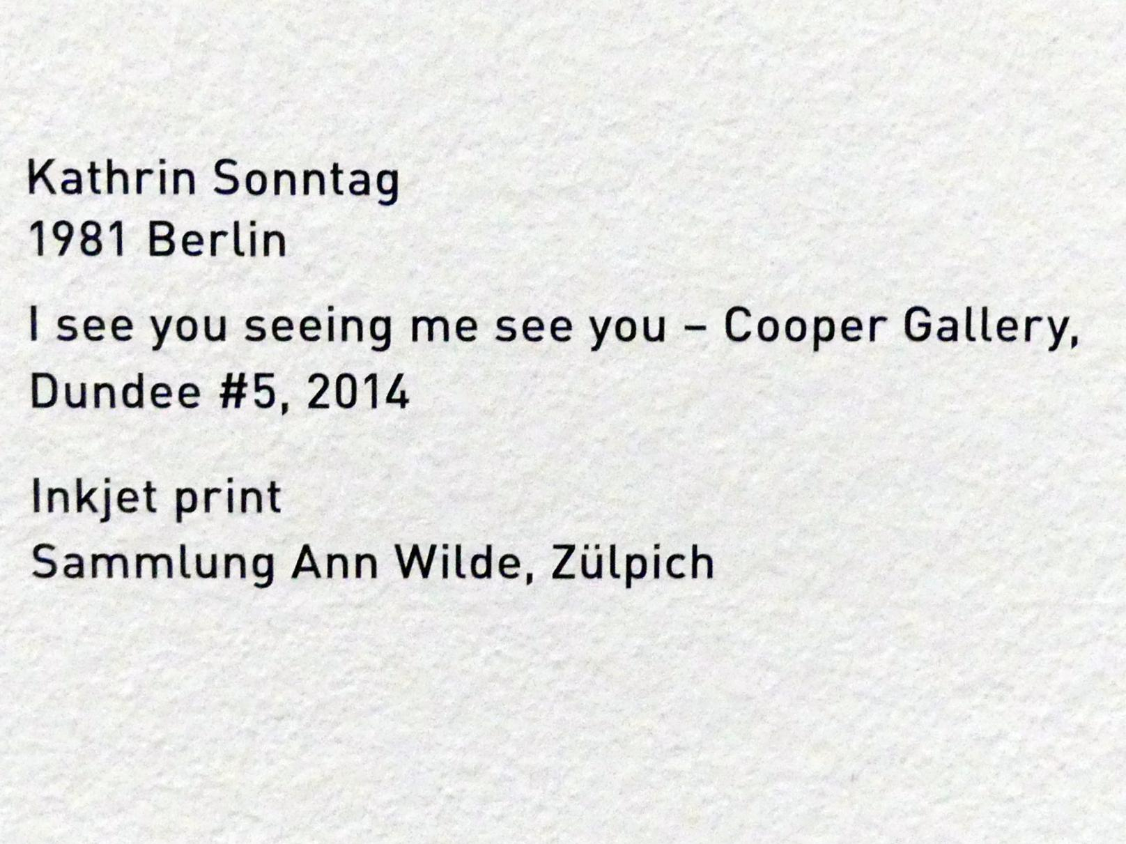 Kathrin Sonntag: I see you seeing me see you - Cooper Gallery Dundee #5, 2014