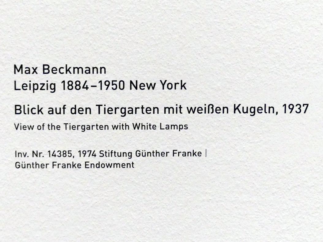 Max Beckmann: Blick auf den Tiergarten mit weißen Kugeln, 1937