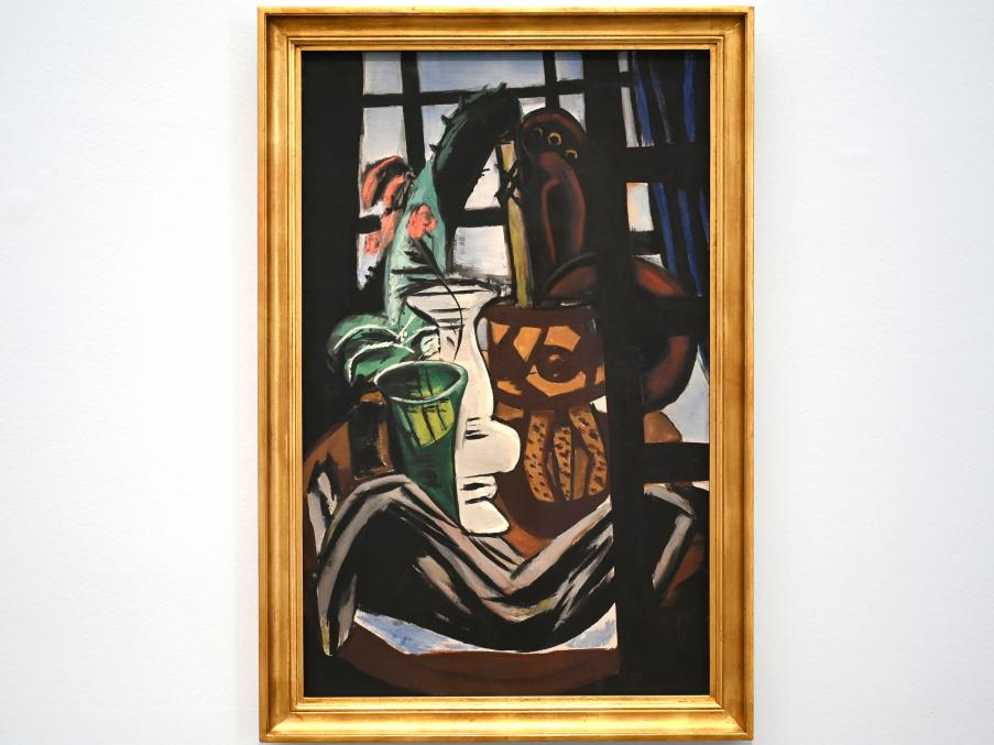 Max Beckmann: Atelier mit Tisch und Gläsern (Stillleben mit Atelierfenster), 1931