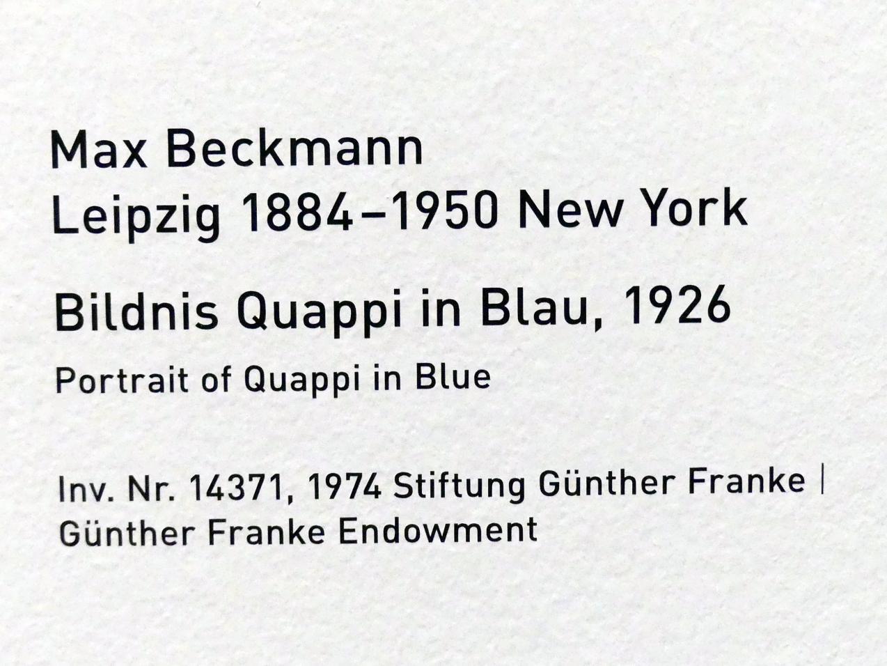 Max Beckmann: Bildnis Quappi in Blau, 1926, Bild 2/2