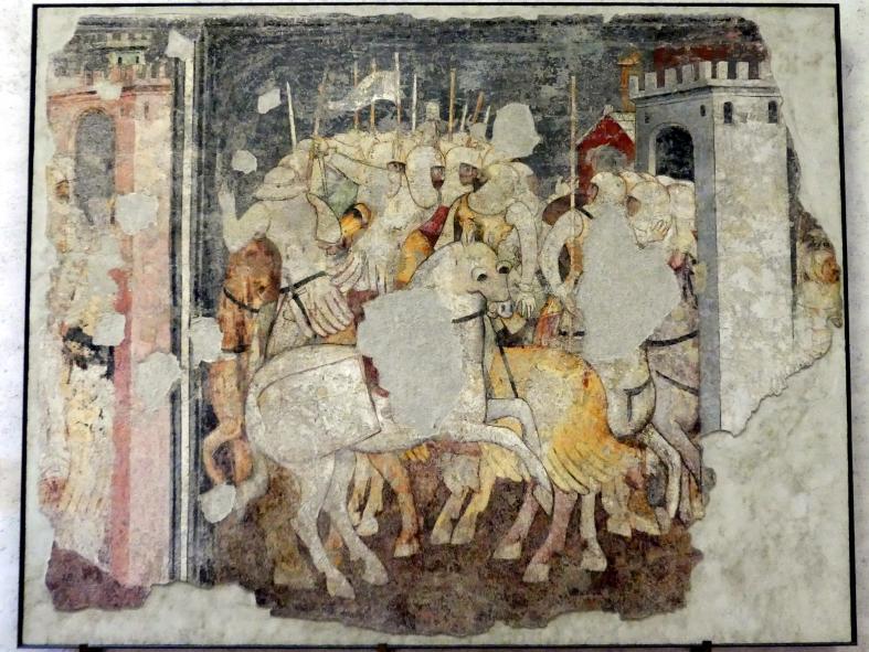 Schlachtszene zwischen Rittern - Battaglia di cavalieri, Mitte 14. Jhd.