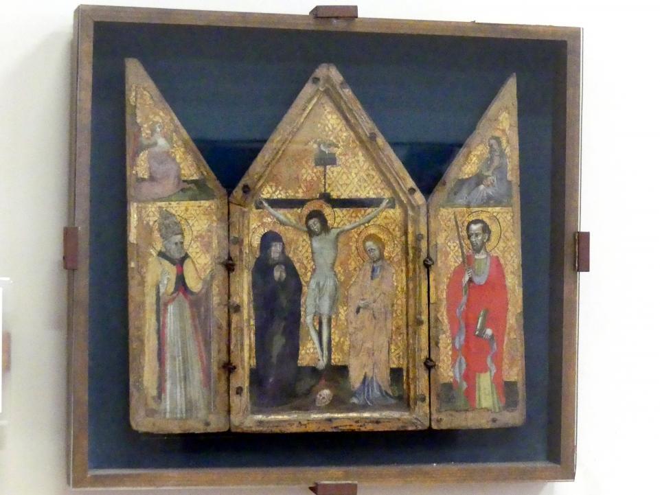 Kreuzigungsgruppe mit den Heiligen Petrus und Paulus, 1. Hälfte 15. Jhd.