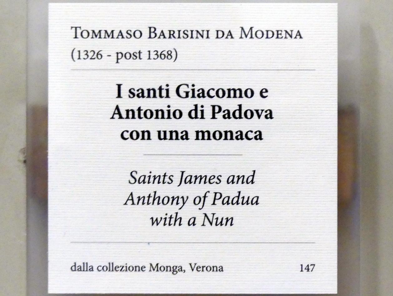Tommaso da Modena (Tommaso Barisini): Die Heiligen Jakobus und Antonius von Padua mit einer Nonne, 1360