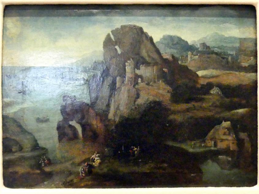 Herri met de Bles: Landschaft mit der Taufe Jesu und dem Gang nach Emmaus, Undatiert