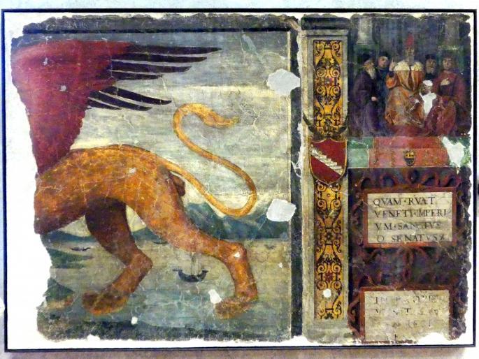 Girolamo Mocetto: Fragment mit dem Löwen des Evangelisten Markus und dem Dogen Loredan, Undatiert