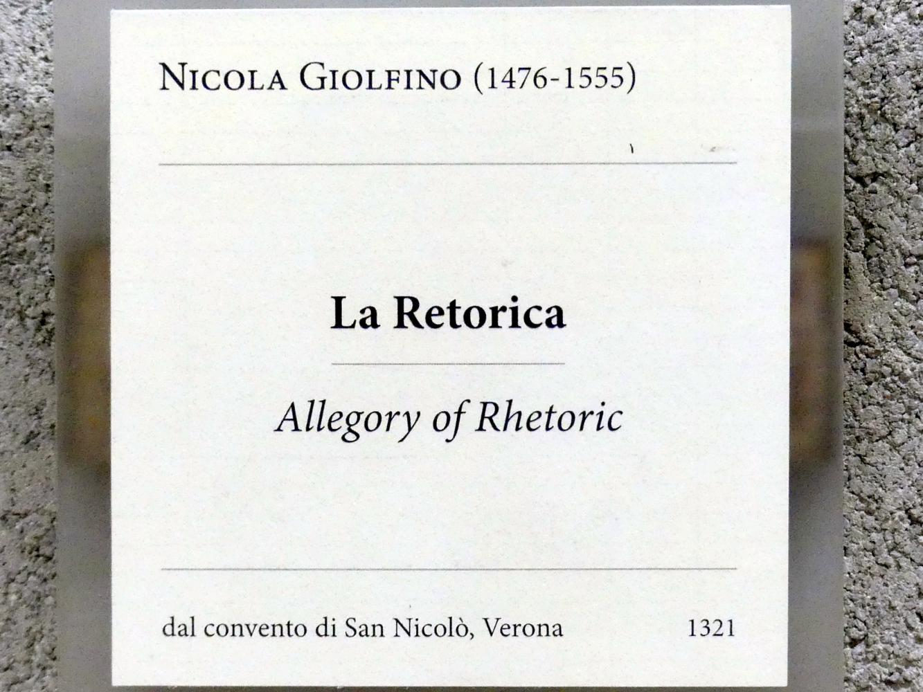 Nicola (Nicolò) Giolfino: Allegorie der Rhetorik, Undatiert