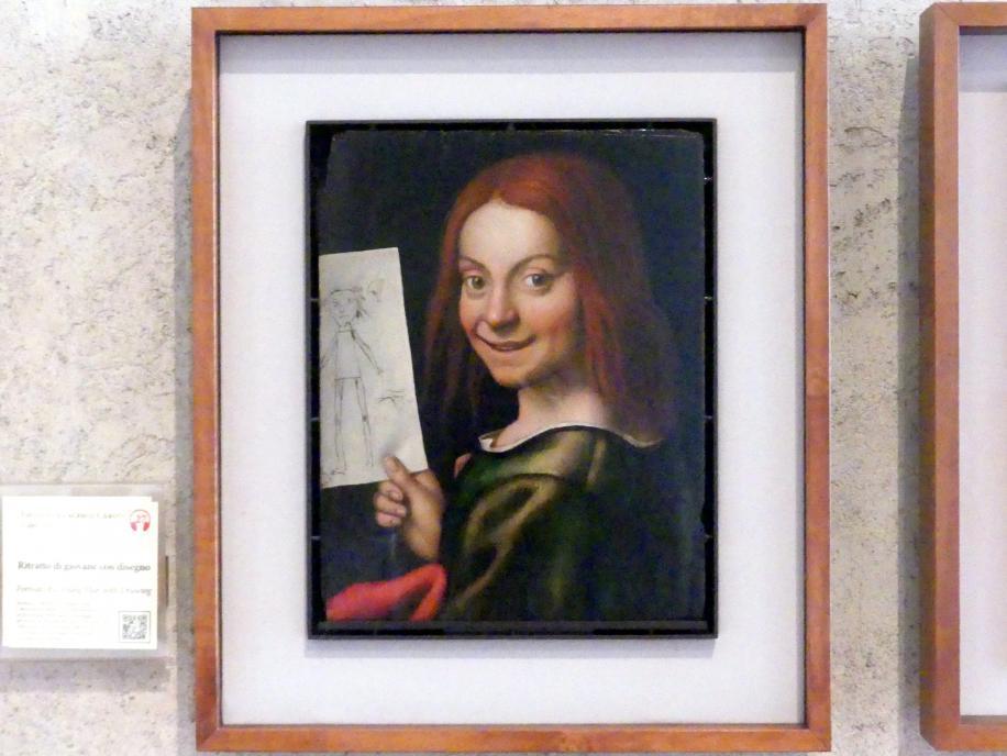 Giovanni Francesco Caroto: Porträt eines Knaben mit Kinderzeichnung, Undatiert