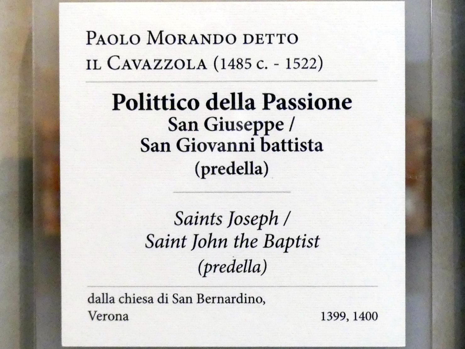 Paolo Morando (Cavazzola): Predella des Polyptichons der Passion, 1517, Bild 6/7