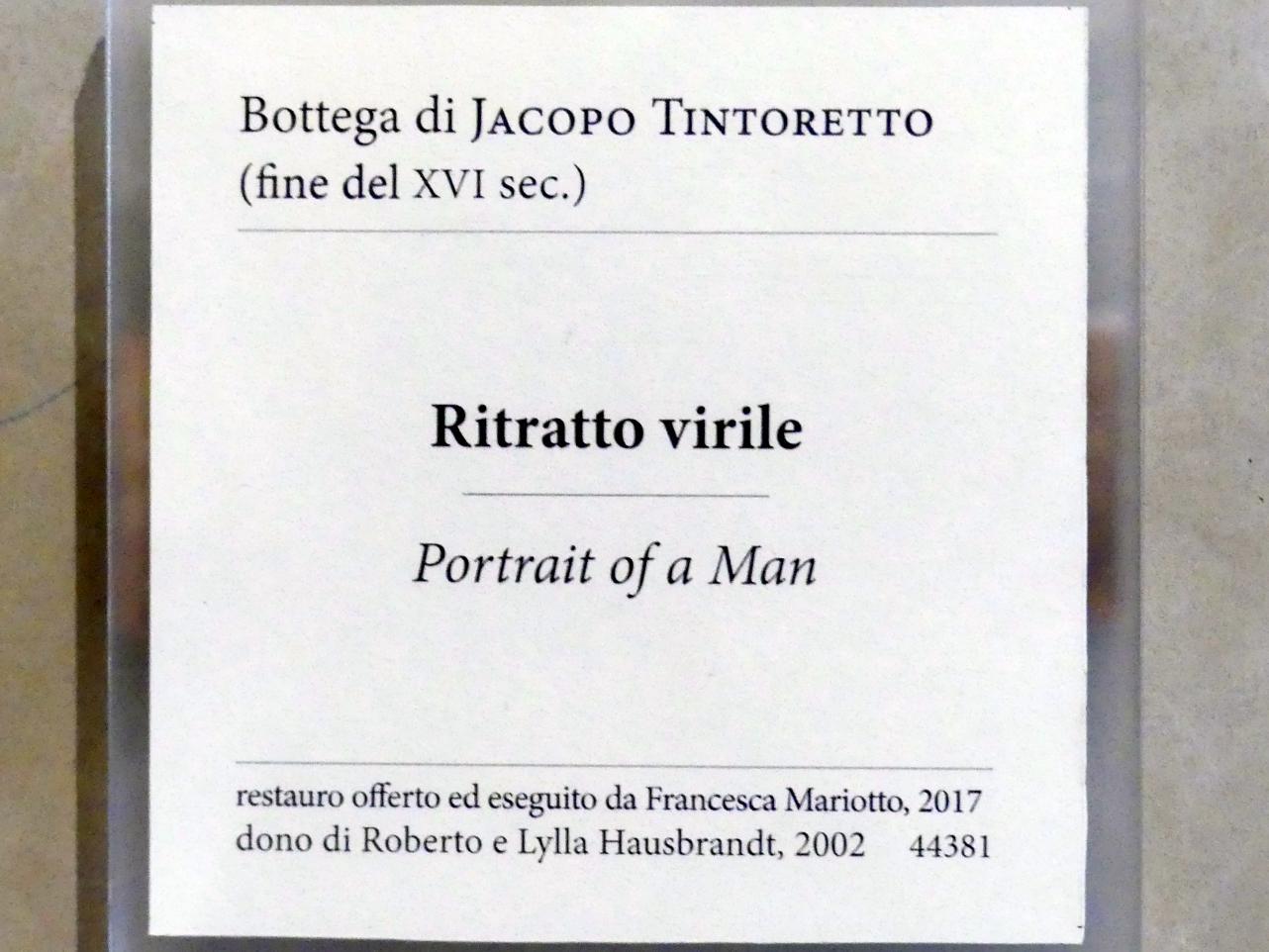 Tintoretto (Jacopo Robusti) (Werkstatt): Bildnis eines Mannes, Undatiert, Bild 2/2