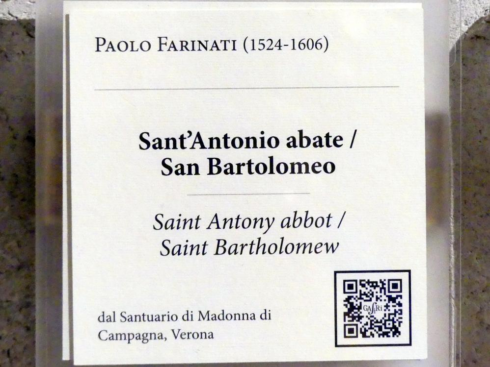 Paolo Farinato (Paolo Farinati): Die Heiligen Antonius Abbas und Bartholomäus, Undatiert, Bild 8/8