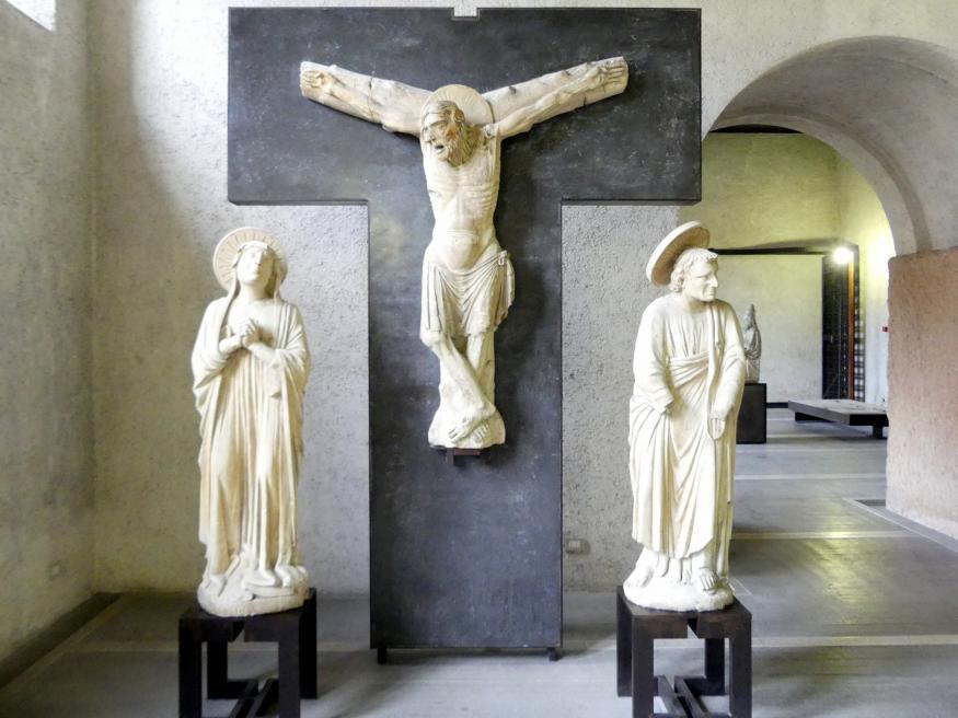 Maestro di Sant'Anastasia: Kreuzigungsgruppe, 1. Hälfte 14. Jhd.