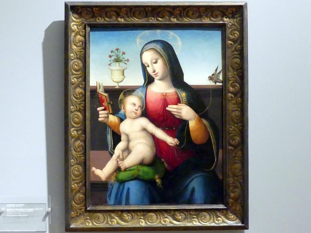 Leonardo di Francesco di Lazzaro Malatesta (da Pistoia): Maria mit Kind und Stieglitz, 1505 - 1510