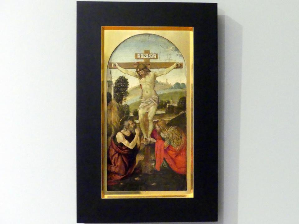 Luca Signorelli (Umkreis): Christus am Kreuz mit dem hl. Hieronymus und der hl. Maria Magdalena, 1480 - 1490