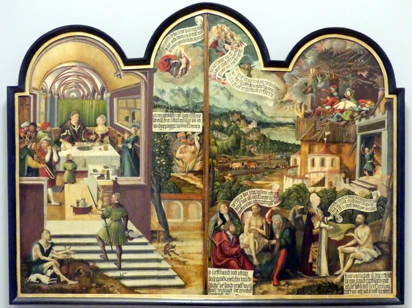 Erhard Altdorfer (Werkstatt): Gleichnis vom reichen Mann und dem armen Lazarus und Szenen aus dem Buch Hiob, um 1522