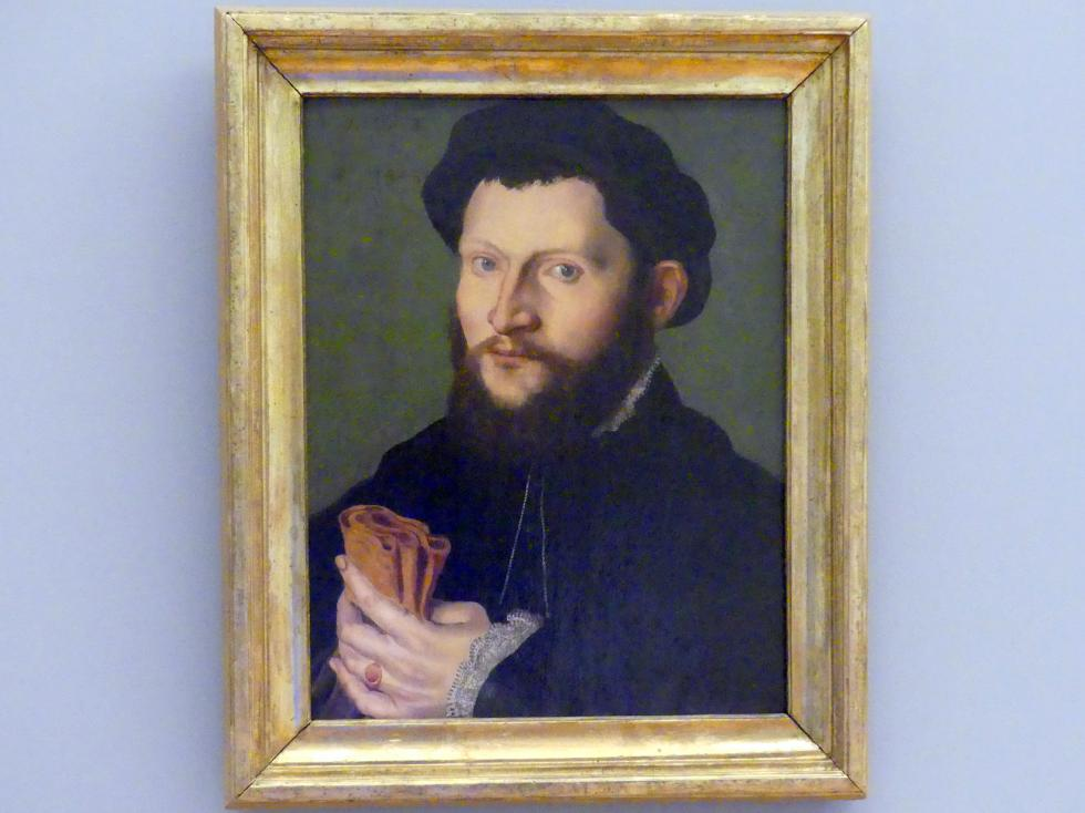 Hans Holbein der Jüngere (Nachfolger): Porträt eines Mannes mit Handschuh, 1545