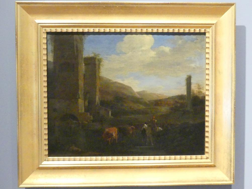 Jan Asselijn: Landschaft mit Aquädukt und Rindern, Um 1650