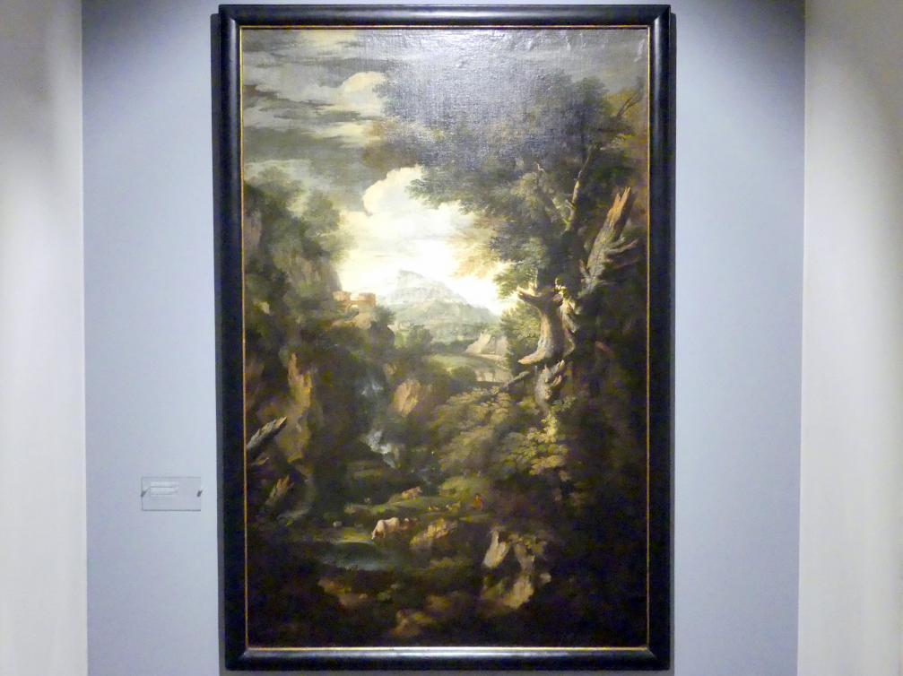 Pieter Mulier (il Tempesta): Landschaft mit Wasserfall, Um 1700