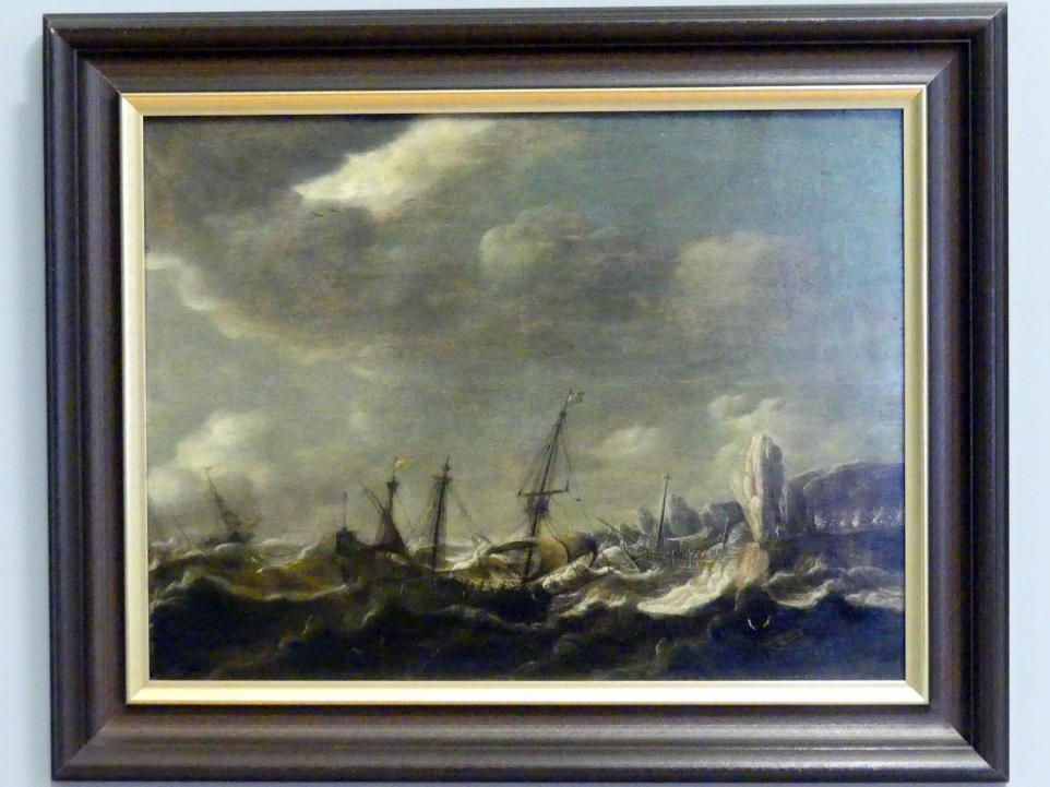 Pieter Coopse: Schiffbruch an der felsigen Küste, um 1660