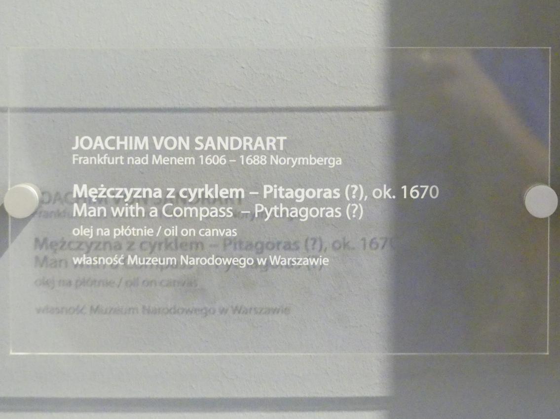 Joachim von Sandrart der Ältere: Mann mit Kompass - Pythagoras (?), um 1670, Bild 2/2