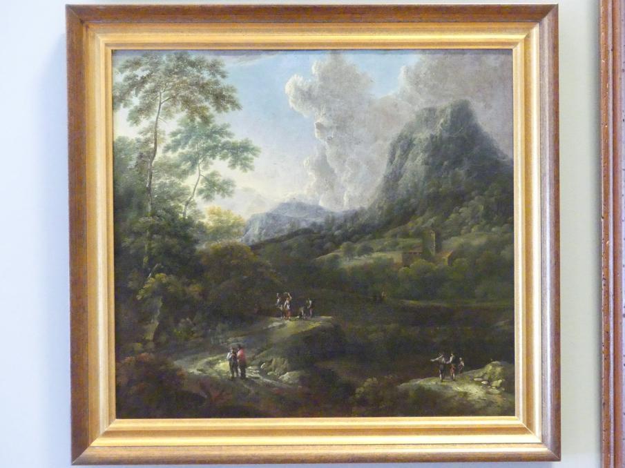 Josef Orient: Berglandschaft mit einem Weg und Fluss, Um 1710