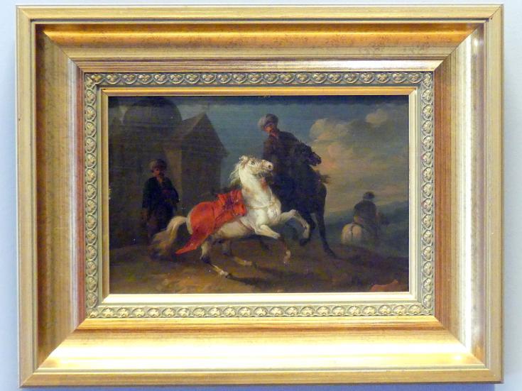 August Querfurt: Türkischer Reiter vor einer Moschee, Um 1747