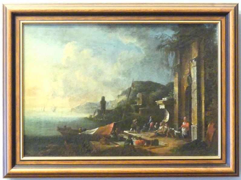 Johann Christian Brand: Fischerhafen bei Sonnenuntergang, Um 1750