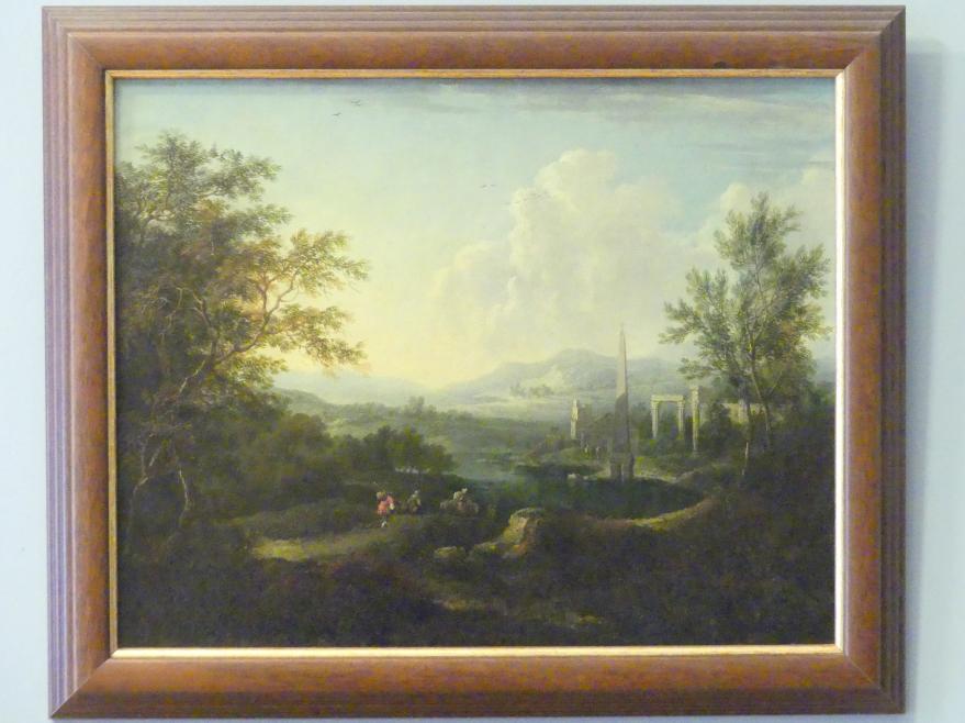 Christian Hilfgott Brand: Landschaft mit Ruinen und Obelisk, 1730
