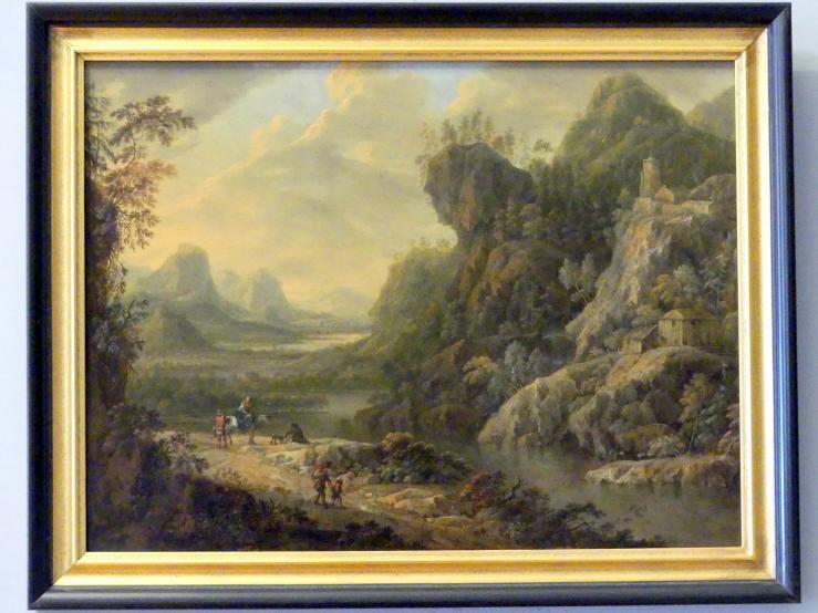 Maximilian Joseph Schinnagl: Gebirgstal mit einem Fluss und Reisenden, Um 1730