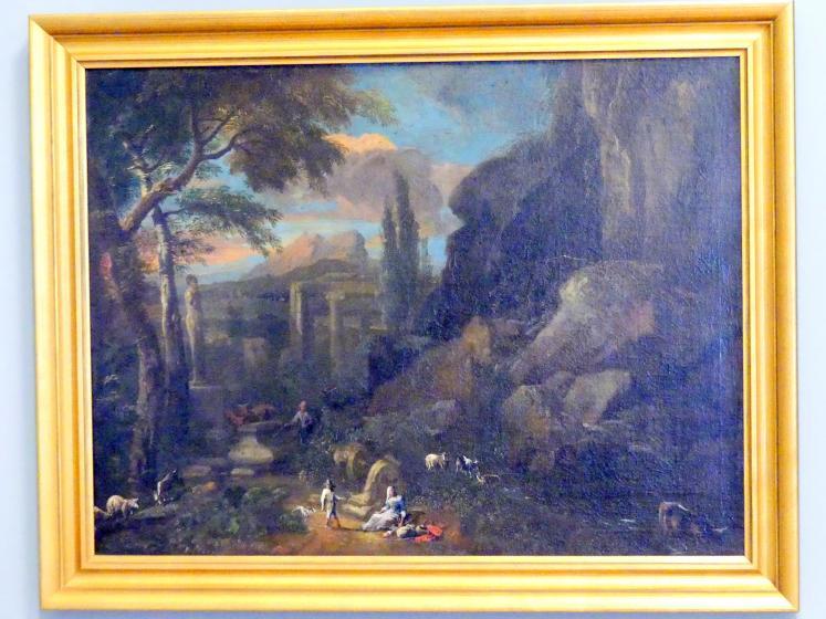 Anton Faistenberger: Italienische Landschaft mit antiken Ruinen und Hirten, Undatiert