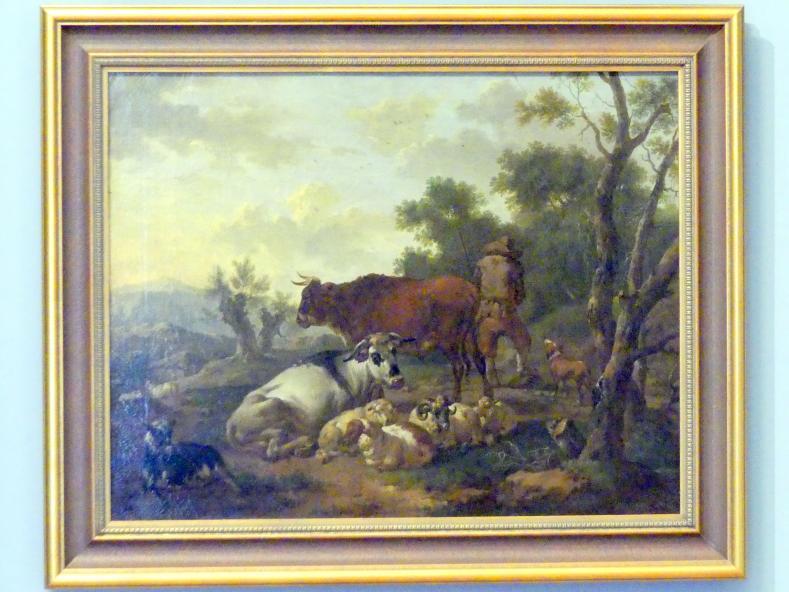 Johann Matthias Wurzer: Herde mit Hirte in einer Gebirgslandschaft, 2. Viertel 18. Jhd.