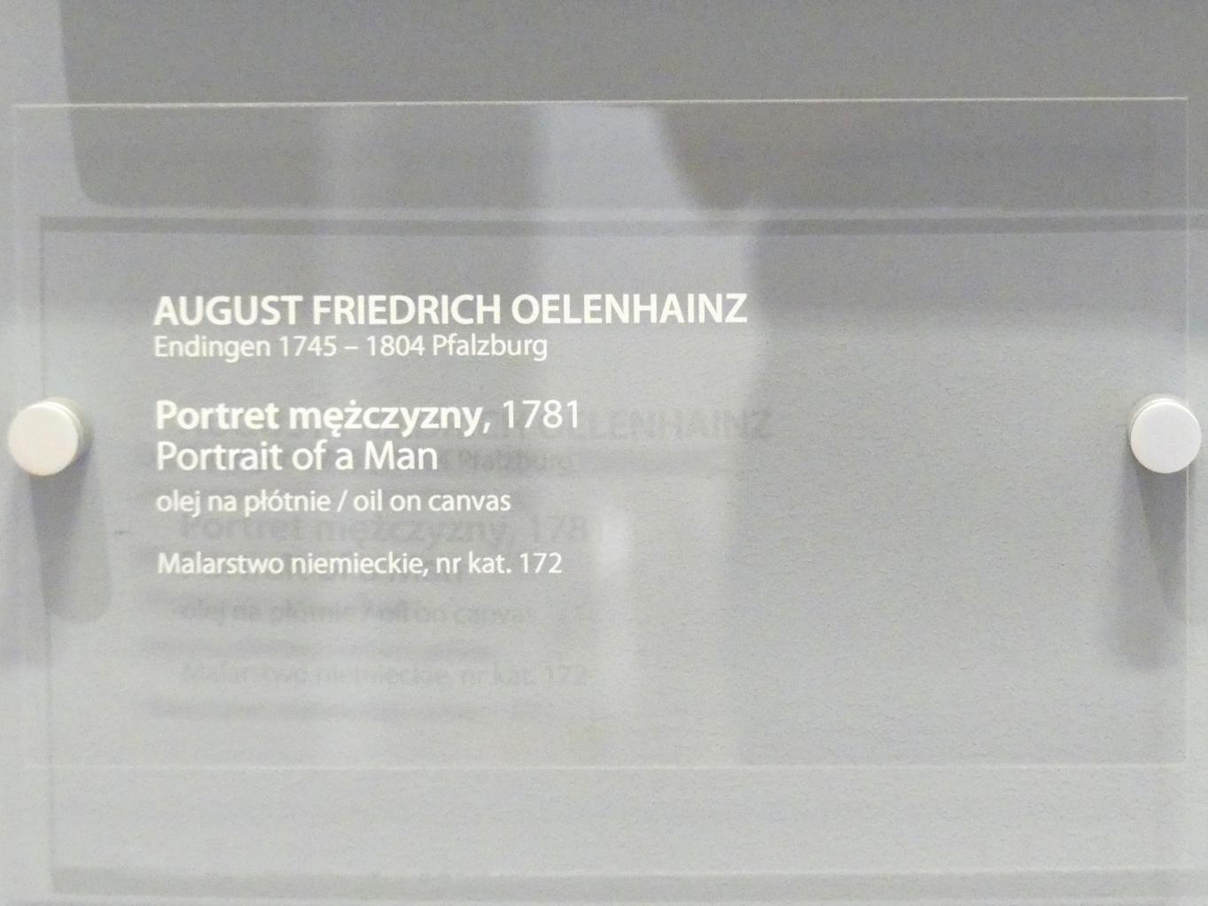 August Friedrich Oelenhainz: Porträt eines Mannes, 1781, Bild 2/2
