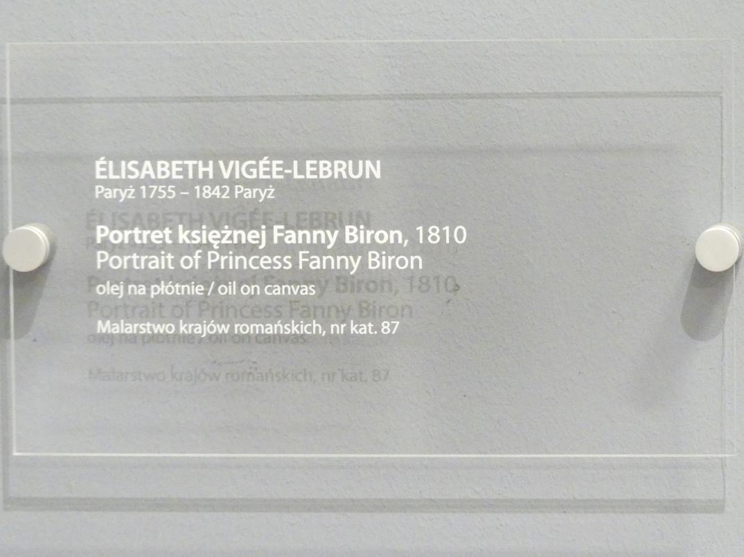 Élisabeth Vigée-Lebrun: Porträt der Fanny Prinzessin Biron von Curland (1790-1849), 1810, Bild 2/2