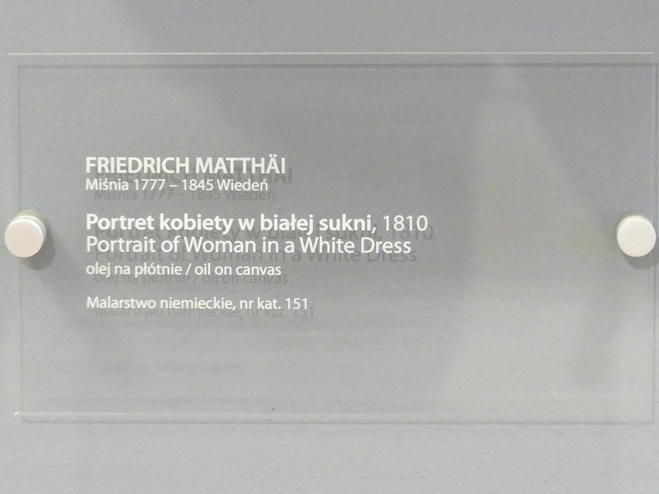 Friedrich Matthäi: Porträt einer Frau in weißem Kleid, 1810, Bild 2/2