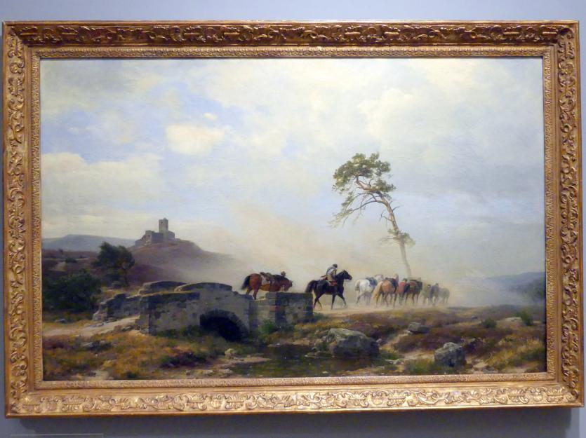 Carl Friedrich Lessing: Landschaft mit Burgruine und Reitern, 1878