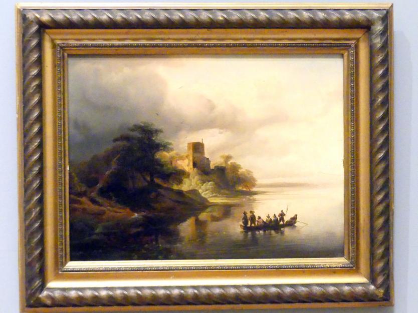 Caspar Scheuren: Rheinlandschaft mit einer Burg und Boot, 1846