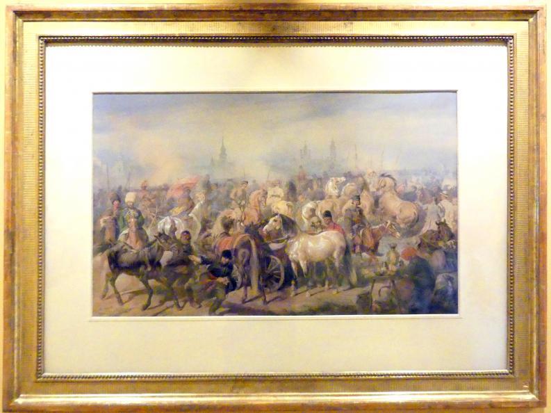 Juliusz Kossak: Pferdemarkt in Prag, 1866