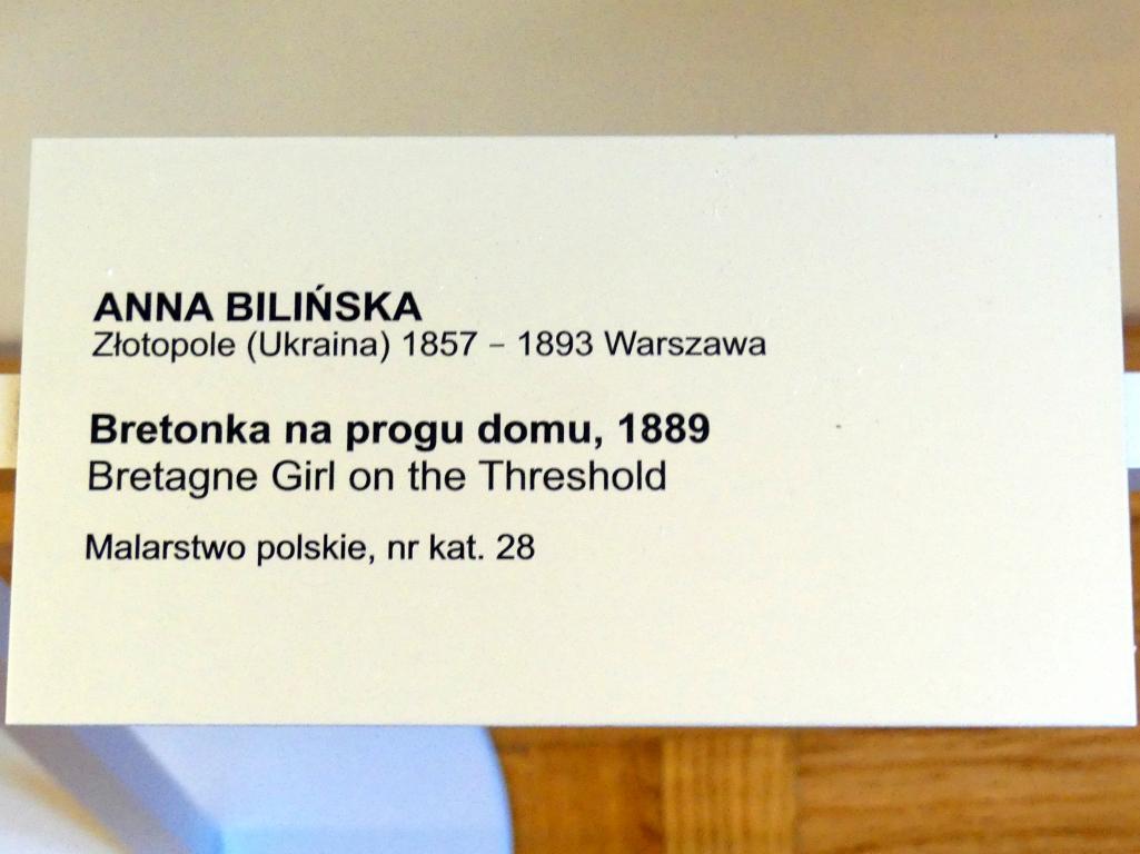 Anna Bilińska: Bretonisches Mädchen auf der Türschwelle, 1889, Bild 2/2