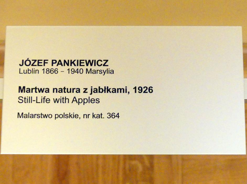 Józef Pankiewicz: Stillleben mit Äpfeln, 1926, Bild 2/2