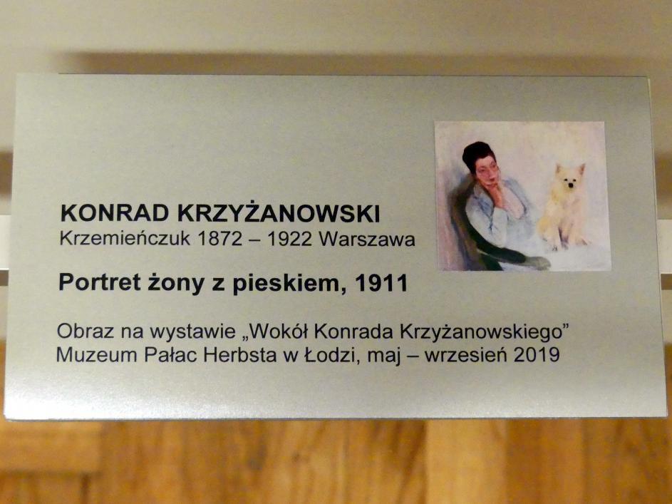 Konrad Krzyżanowski: Porträt einer Frau mit einem Hund, 1911
