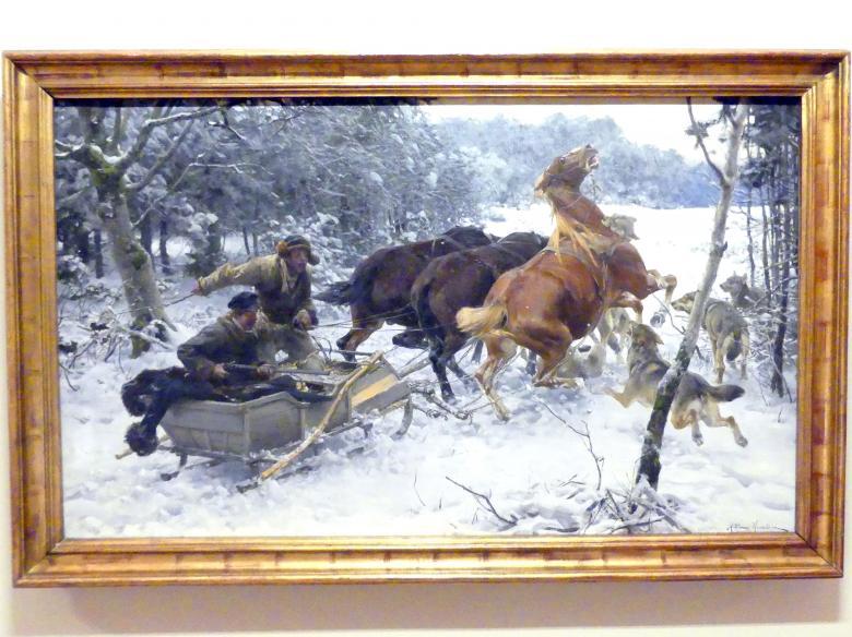 Alfred von Wierusz-Kowalski: Angreifendes Wolfsrudel, Um 1890