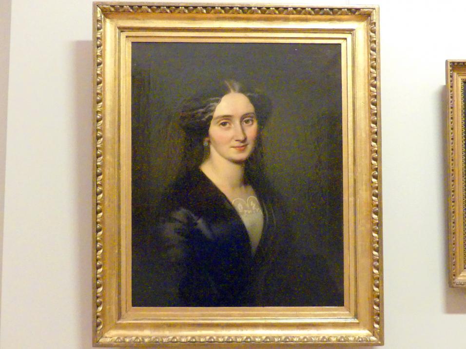 Alojzy Reichan: Porträt einer Dame in schwarzem Kleid, 1854