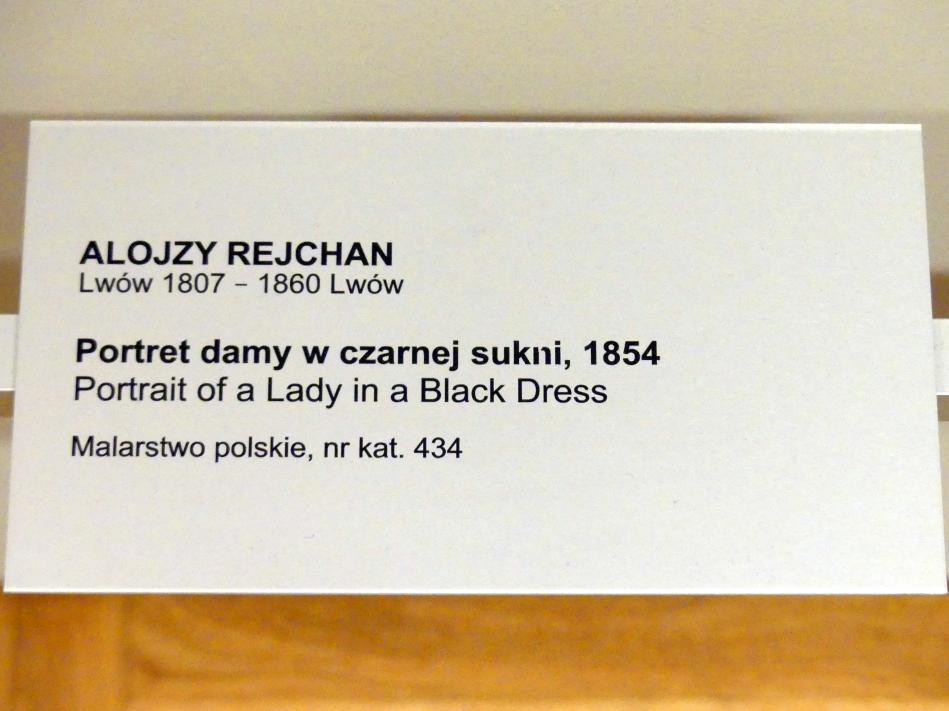 Alojzy Reichan: Porträt einer Dame in schwarzem Kleid, 1854, Bild 2/2