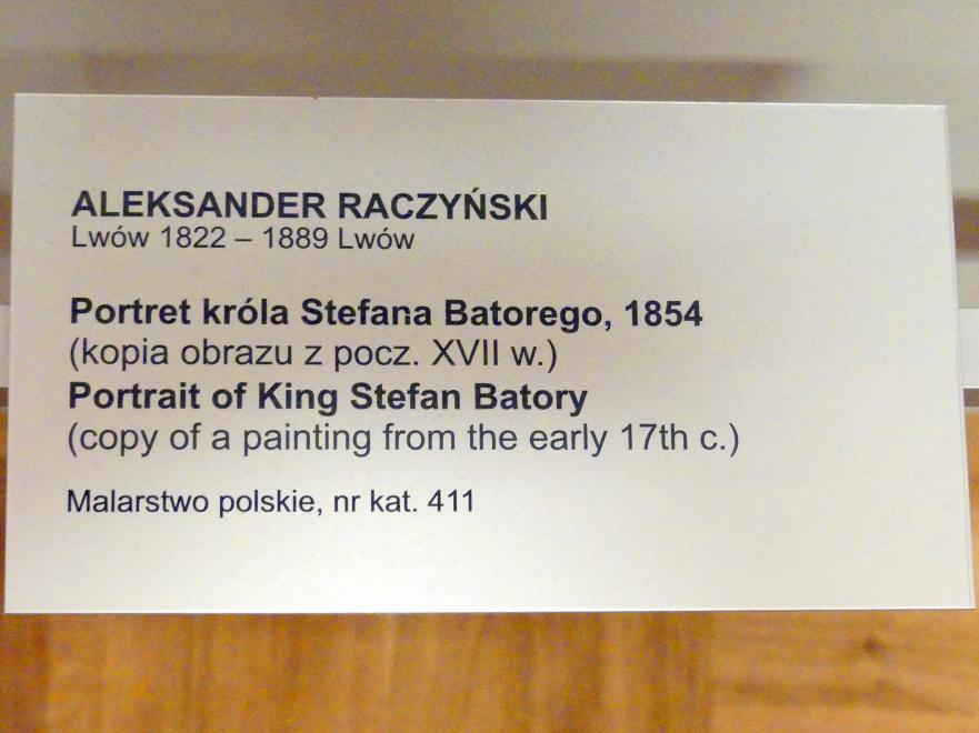 Aleksander Raczyński: Porträt des Königs Stephan Báthory (1533-1586), 1854, Bild 2/2