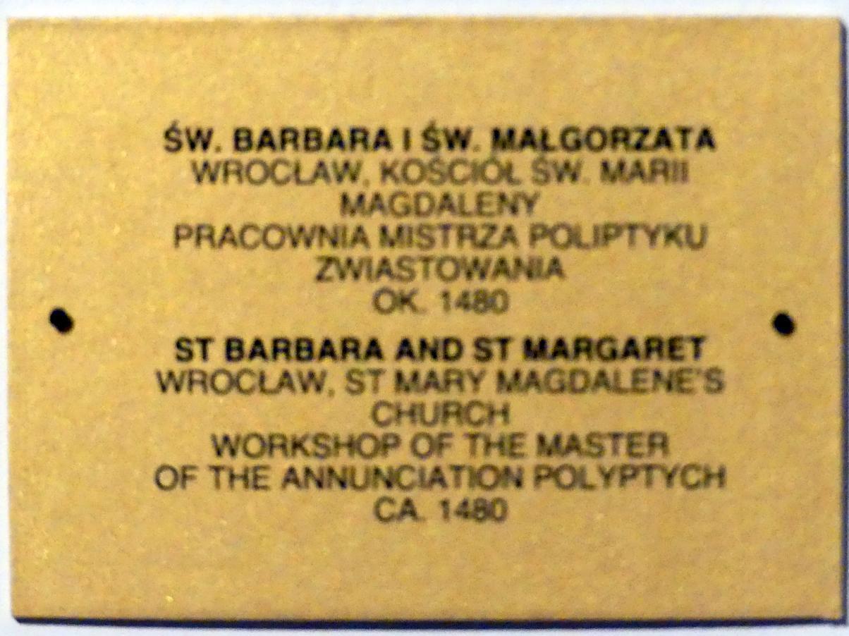 Meister des Verkündigungs-Polyptychons (Werkstatt): Hll. Barbara und Margareta, um 1480, Bild 2/2