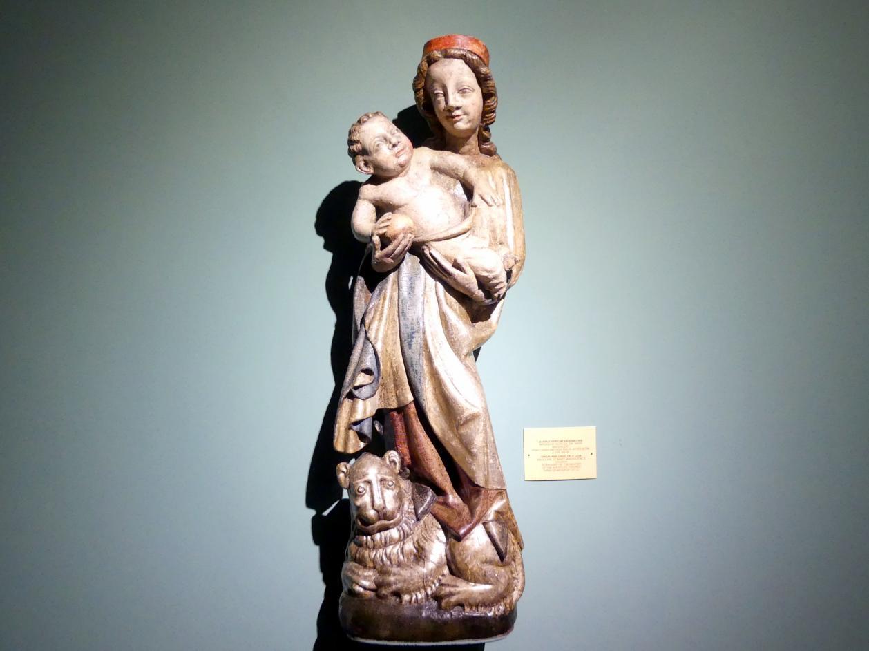 Meister der Apostelfiguren (Breslau) (Werkstatt): Maria mit Kind auf einem Löwen, 3. Viertel 14. Jhd.