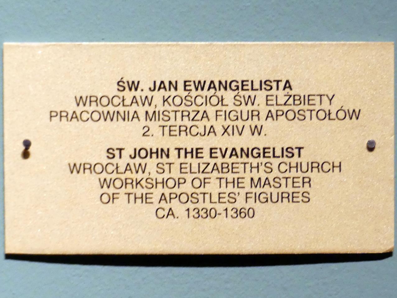 Meister der Apostelfiguren (Breslau) (Werkstatt): Evangelist Johannes, 2. Drittel 14. Jhd.